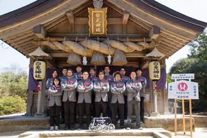 白兎神社前で(2018年3月)